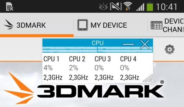 Samsung zet processorkernen op max in hoofdmenu 3DMark