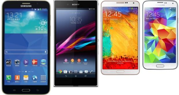 Galaxy Tab Q, Xperia Z Ultra, Note 3 en S5 op schaal