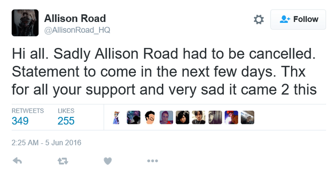 Tweet annulering Allison Road