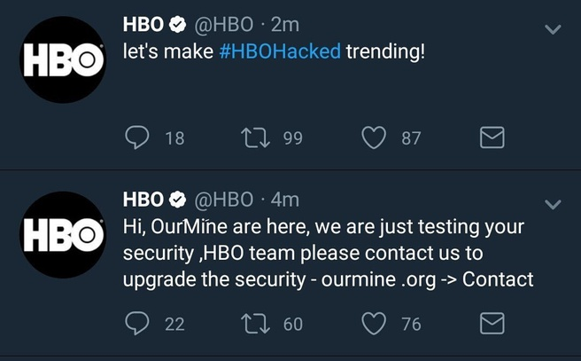 HBO-accounts op Twitter overgenomen