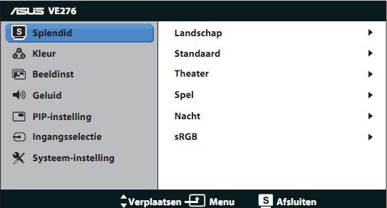 ASus VE276Q menu osd