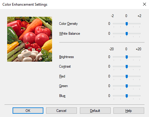 Color enhancement settings